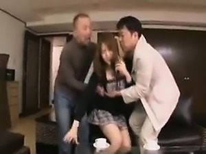 Stacked Japanese beauty drops her clothes and enjoys two ha