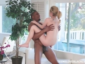 Would be innocent teen white girl enjoys some big black cock
