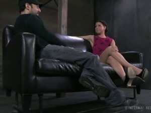 Slave with big ass yelling when spanked in BDSM shoot