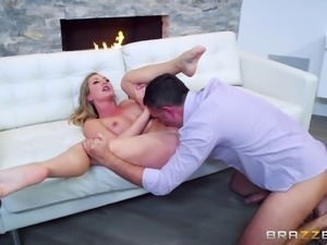 Naughty blonde Brett Rossi chokes on a cock before riding it