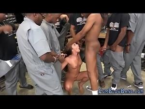 Bukkaked slut blows black