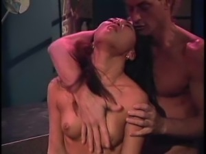 Small tits Asian maiden with hot ass giving dick blowjob