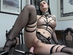 Slutty Goth rides and sucks her Dildo...