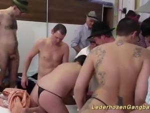 Crazy german lederhosengangbang with a extreme hot porno punk lady