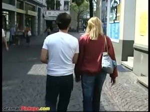 Big natural breast german milf picked up for wild sex in nature