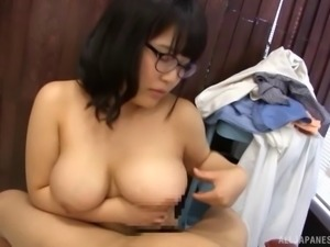 Chubby in glasses throbbed doggystyle till reaching orgasm