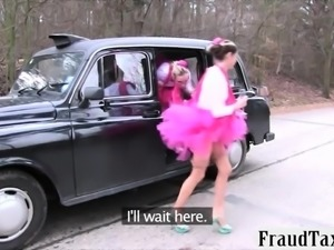 Hen party gets wild in the backseat fucking bride to be
