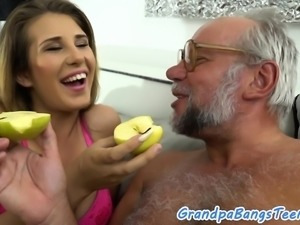Busty babe fucked by grandpa