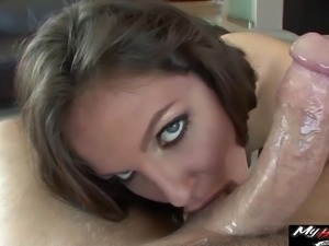 Cute Bobbi Starr rides a massive boner with her hairy cunt