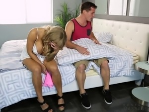 Busty blonde gets grabbed and taken insatiably in different positions