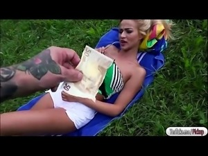 Beautiful blonde babe sucks and fucks cock for cash