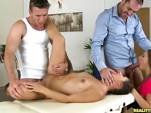 Choky Ice makes Brunette Diana Dali with round booty and shaved muff scream...