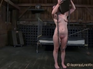 Chained slave getting messy when tortured badly in BDSM