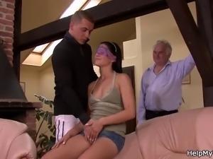 Lovely brunette wife cuckolds old husband