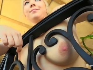 Sweet Rachel's natural boobs crave a sensual touch