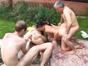 Russian family gangbang in the garden
