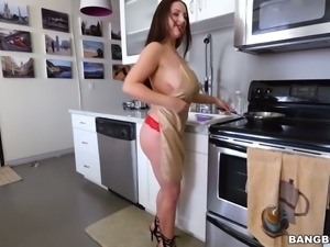 Fantastic all natural white milf blows brown dick and fucks on POV sextape