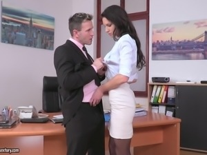 brunette lady needs to suck cock for a raise