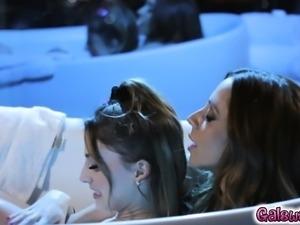 Ariella touches Kristen in between her legs