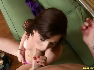 Redhead Annie Whorehall feels intense sexual while giving handjob