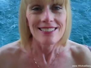 Handjob By The Pool