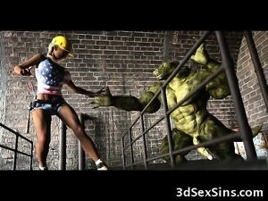 3D Girl Used by a Monster in the Sewers!