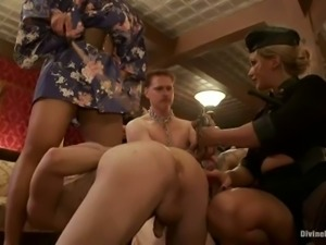 Femdom Fuckfest with Hot Dominant Ladies Playing with Submissive Guys