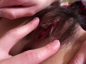 Asian dame with natural tits in a thong moaning as her hairy pussy is banged...