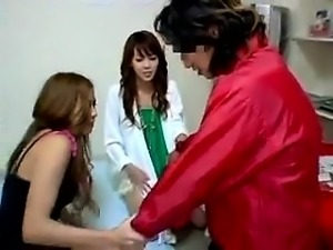 Horny boy has two irresistible Japanese girls satisfying hi