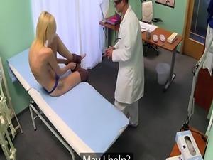 Euro babe riding doctors stiff cock