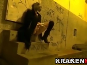 Strange video of a outdoor public bdsm casting in Krakenhot