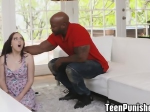 Nickey  bounce up and dwon nicely on a big black cock