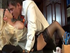 Amazing blonde secretary named Christie does anal