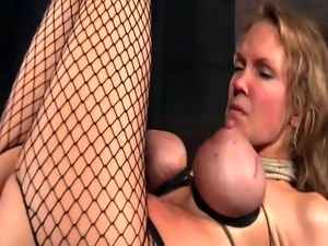 Busty piss sub pees before bdsm foot worhsip