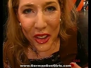Mature German bitches get drilled hardcore as they swallow cum