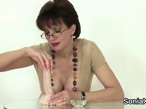 Unfaithful british milf lady sonia shows her monster melons