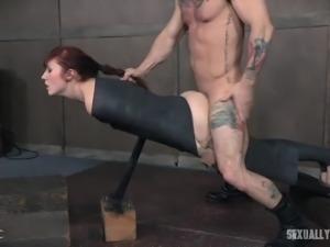 balanced on a beam and fucked hard