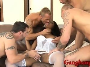 Busty ebony babe Monique Symone analyzed by white cocks