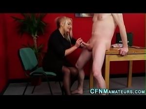 Cfnm nurse strokes cock