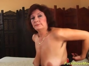 Horny czech extreme hairy mom with oiled big natural boobs enjoys a massive...