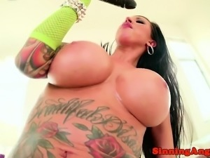 Busty pornstar fucked in both gaping holes