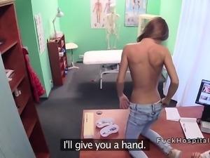 Slim brunette patient rides doctors dick