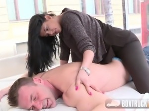 BoxTruckSex - Deep throat, face fucking and facial in public