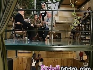 African babes sucking long white dong in threeway