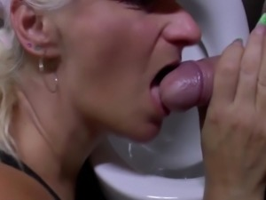 Mature mother broadcasting from mens toilet