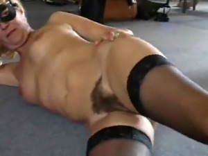 Hairy Blonde lady In Stockings at home
