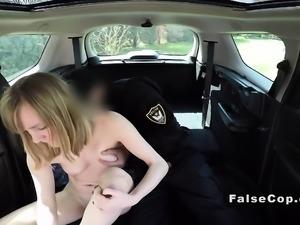 Fake cop bangs blonde in his huge car