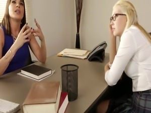 A lusty blonde student enjoys DP fuck with strapons by her teacher and