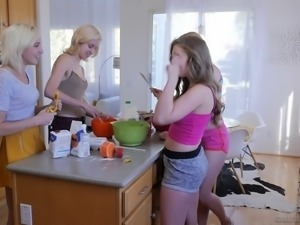 Sleepover and hot lesbian action with Eliza Jane and Lena Paul