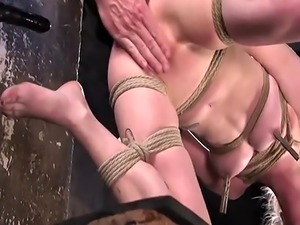 Gagged blonde spanked and cunt fingered